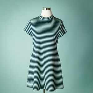 Free People Beach L Striped Mock Neck Dress